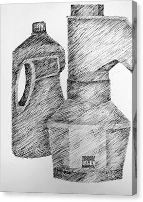 Still Life With Popcorn Maker And Laundry Soap Bottle Canvas Print by Michelle Calkins