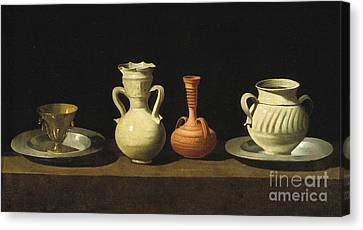 Still Life With Pottery Jars Canvas Print by Celestial Images