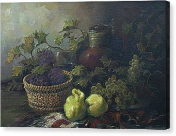 Canvas Print featuring the painting Still-life With Quinces by Tigran Ghulyan