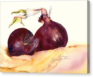 Still Life With Red Onions Canvas Print by Karen Mattson