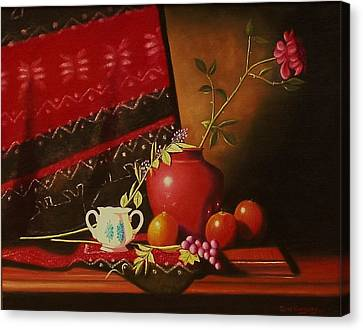 Still Life With Red Vase. Canvas Print by Gene Gregory