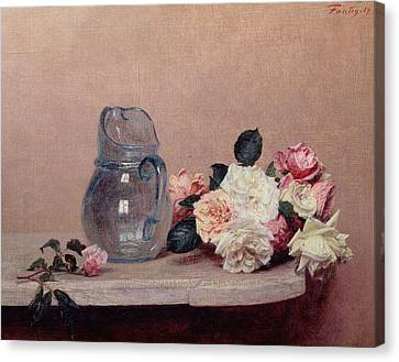 Still Life With Roses Canvas Print by Ignace Henri Jean Fantin-Latour