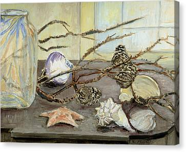 Still Life With Seashells And Pine Cones Canvas Print by Ethel Vrana