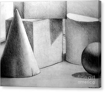 Still Life With Shapes Canvas Print by Nancy Mueller