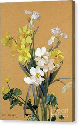 Daffodils Canvas Print - Still Life With Spring Flowers by Jean Benner