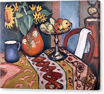 Interior Still Life Canvas Print - Still Life With Sunflowers II by August Macke