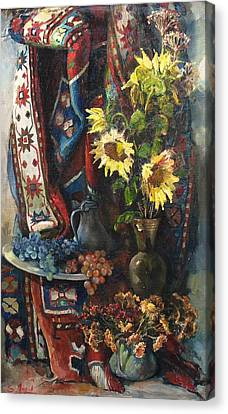 Canvas Print featuring the painting Still-life With Sunflowers by Tigran Ghulyan