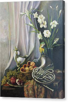 Still-life With The French Horn Canvas Print by Tigran Ghulyan