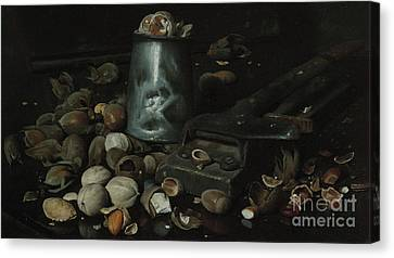 Still Life With Tin Can And Nuts Canvas Print by Joseph Decker
