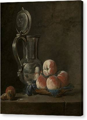Still Life With Tin Pitcher And Peaches  Canvas Print by Jean-Baptiste-Simeon Chardin