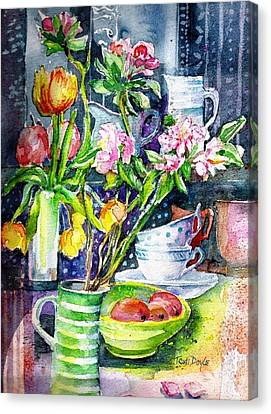 Still Life With Tulips And Apple Blossoms  Canvas Print by Trudi Doyle