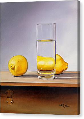 Still Life With Two Lemons And Glass Of Water Canvas Print