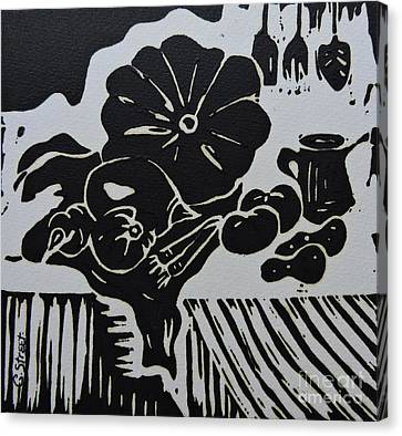 Still-life With Veg And Utensils Black On White Canvas Print by Caroline Street
