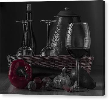Still Life With Vegetables And Glass Of Wine With Red Accent Canvas Print