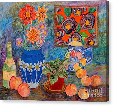 Still-life With Violet Collage Canvas Print by Caroline Street