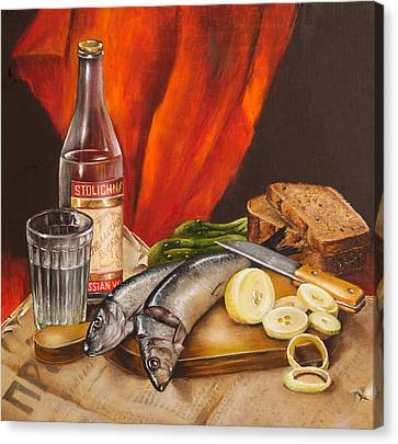 Still Life With Vodka And Herring Canvas Print