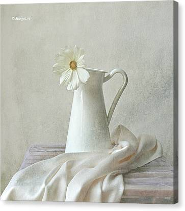 Still Life With White Flower Canvas Print by by MargoLuc