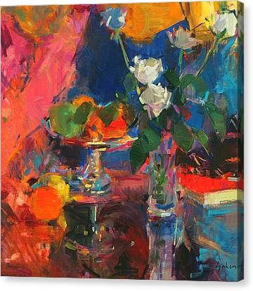 Rose Canvas Print - Still Life With White Roses by Peter Graham