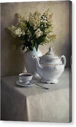 Still Life With White Tea Set And Bouquet Of White Flowers Canvas Print