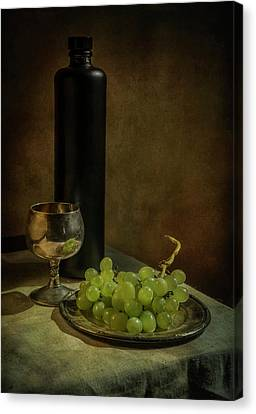 Still Life With Wine And Green Grapes Canvas Print by Jaroslaw Blaminsky