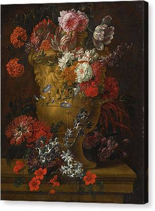 Still Lifes Of Flowers In Sculpted Stone Urns Canvas Print by MotionAge Designs