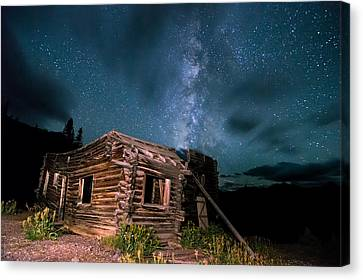 Still Night At Old Cabin Canvas Print