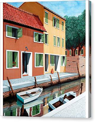 Still, On The Canal--one Image Canvas Print by Mary Grden's Baywood Gallery