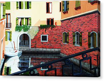 Still, On The Venice Canal, Prints From The Original Oil Painting Canvas Print by Mary Grden's Baywood Gallery
