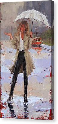 Canvas Print featuring the painting Still Raining by Laura Lee Zanghetti
