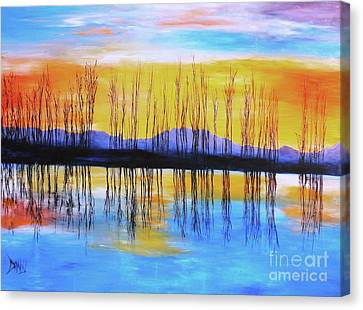 Canvas Print featuring the painting Still Waters From The Water Series  by Donna Dixon
