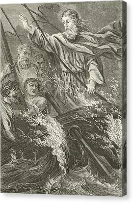 Stilling The Tempest  Canvas Print by English School