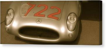 Canvas Print featuring the photograph Stirling Moss 1955 Mille Miglia Winning 722 Mercedes by John Colley