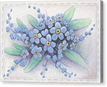 Stitched Forget-me-nots Canvas Print