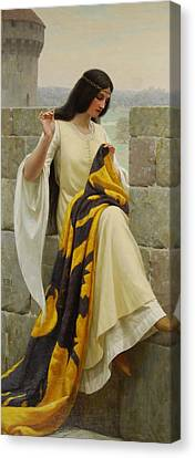 Needles Canvas Print - Stitching The Standard by Edmund Blair Leighton