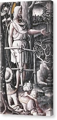 St.john The Baptist Preaching In The Wilderness Canvas Print by Unknown
