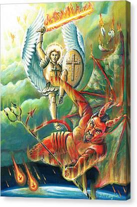 St Michael Defeats The Devil Canvas Print by Jenny McLaughlin
