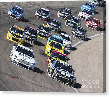 Stock Car Racing In Vegas Canvas Print by Garland Johnson
