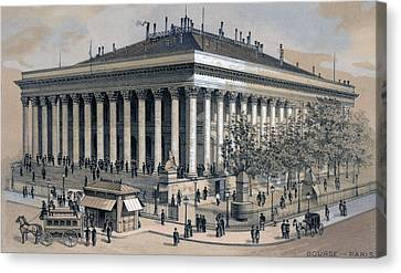 Stock Exchange In Paris, France, 1886 Canvas Print by Everett