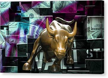 Bulls Canvas Print - Stock Futures by Marvin Blaine