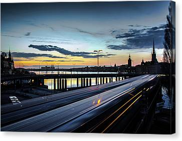 Canvas Print featuring the photograph Stockholm Night - Slussen by Nicklas Gustafsson