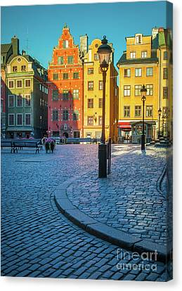 Stockholm Stortorget Square Canvas Print by Inge Johnsson
