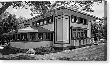 Stockman House - Frank Lloyd Wright - Black And White Canvas Print by Nikolyn McDonald