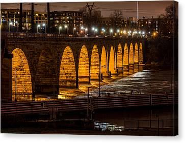 Stone Arch Bridge Night Shot Canvas Print by Paul Freidlund