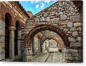 Stone Arches And Walkway At Monastery Of Hosios Loukas In Greece Canvas Print