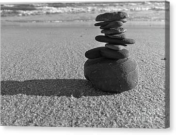Stone Balance On The Beach In Monochrome Canvas Print