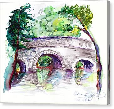 Stone Bridge In Early Autumn Canvas Print