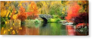 Stone Bridge On An Autumn Day Canvas Print