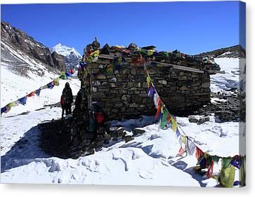 Tibetan Canvas Print - Stone Cabin At Thorong La Pass by Aidan Moran