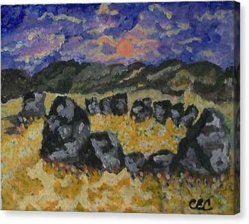 Canvas Print featuring the painting Stone Circle by Carolyn Cable