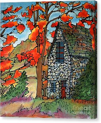 Stone Cottage Silk Painting Canvas Print by Linda Marcille